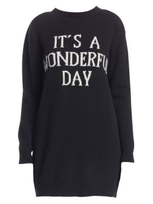 'It'S A Wonderful Day'-Intarsia Cashmere And Wool Blend Knit Dress, Black
