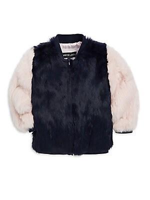 76b8502585d Adrienne Landau - Little Girl s   Girl s Rabbit Fur Varsity Jacket