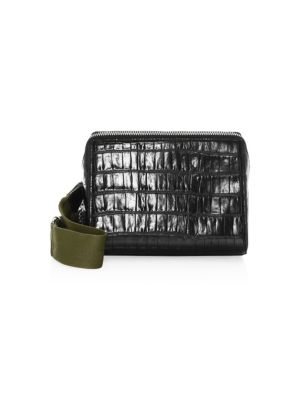 Ray Triangle Croc Embossed Leather Crossbody Bag - Black