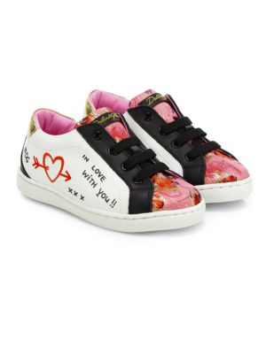Dolce Amp Gabbana Toddler S Kid S Graffiti Low Lace Leather Sneakers