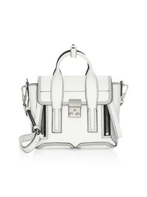 Pashli Mini Leather Satchel, Optic White