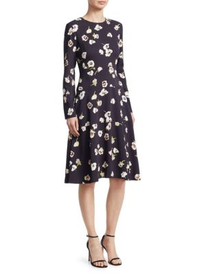 LELA ROSE Long-Sleeve A-Line Floral-Print Dress in Blue