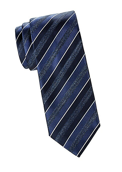 """Image of Bold diagonal stripes pattern this Italian silk tie with a textured finish.100% silk. Dry clean. Made in Italy. SIZE. Width, about 3""""."""