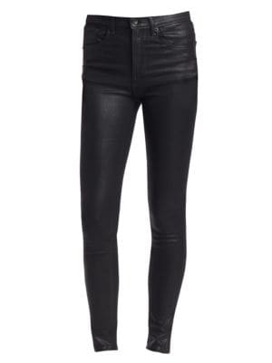 Coated High-Rise Skinny Jeans - Black Size 24