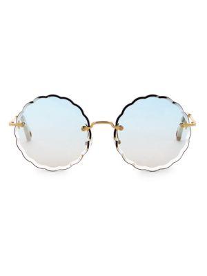 901c9de7b38a ChloÉ Rosie Round Scalloped Sunglasses In Gold Gradient Blue ...