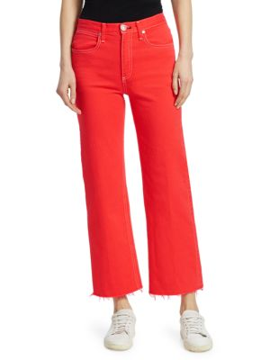Justine High Waist Ankle Wide Leg Jeans in Poppy Red