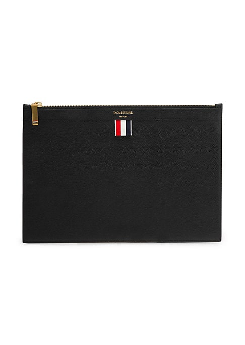 Image of Leather tablet holder with striped detail. Top zip closure. Leather. Made in Italy.