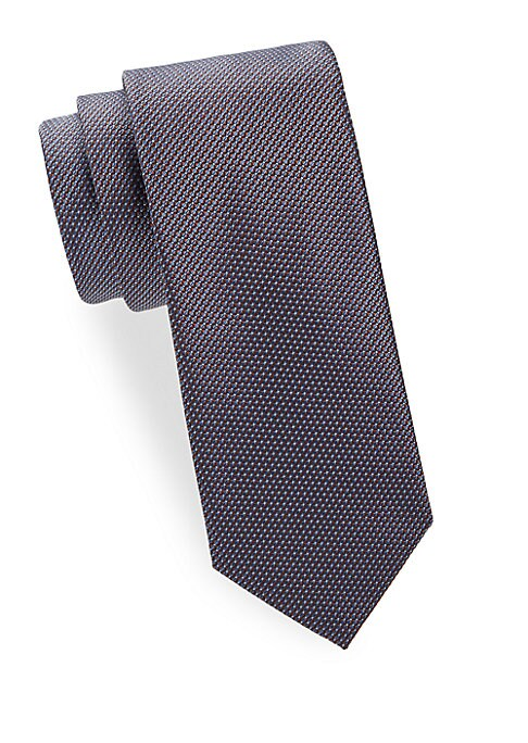 "Image of Elegant tie in textured geometric silk. Width, about 3"".Silk. Dry clean. Made in Italy."