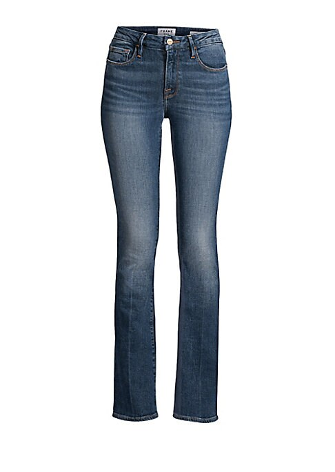 Chic stretch-denim jeans with a subtle flare silhouette. Five-pocket style Zip fly Button closure Cotton/modal/elastane Machine wash Made in USA SIZE & FIT Rise, about 9\\\
