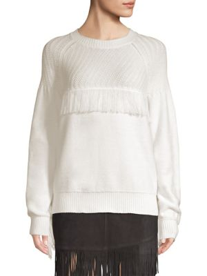 Fringe Cotton Crewneck Sweater, Off White