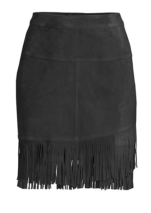 """Image of From the Saks It List: The Mini Skirt. Fringe trimmed skirt crafted in luxe suede. Back zip-fly with button closure. About 20"""" long. Suede. Dry clean. Imported. .Model shown is 5'10"""" (177cm) wearing US size 4. ."""