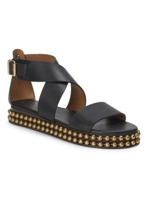 Women'S Sawyer Studded Leather Platform Sandals, Black