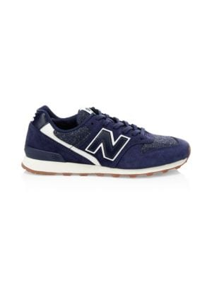 NEW BALANCE Commercial 696 Mesh & Suede Sneakers in Pigment Blue