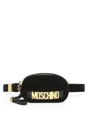 Goldtone Logo Belt Bag, Black