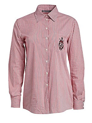 Image of Boasting a red-and-white stripe, this button-down shirt features a slightly longer length and fuller sleeves for a feminine silhouette. Embroidered insignia at the pocket adds that extra level of design to the piece. Point collar Long sleeves Buttoned bar