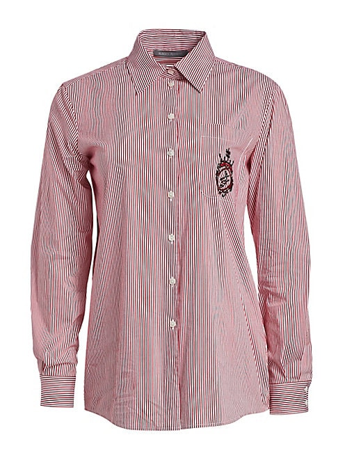 Image of Boasting a red-and-white stripe, this button-down shirt features a slightly longer length and fuller sleeves for a feminine silhouette. Embroidered insignia at the pocket adds that extra level of design to the piece. Point collar. Long sleeves. Buttoned b