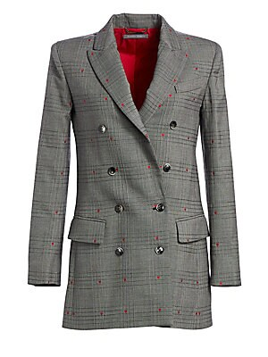 Image of A smattering of delicate red hearts injects this smart plaid blazer with a sense of whimsy. A bold shoulder and longer length make for a fresh silhouette. Wide peak lapels Long sleeves Buttoned cuffs Double-breasted button front Chest welt pocket Waist fl