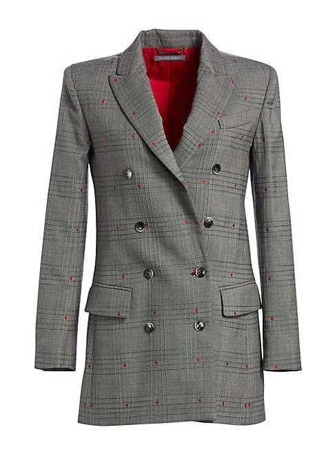 Image of A smattering of delicate red hearts injects this smart plaid blazer with a sense of whimsy. A bold shoulder and longer length make for a fresh silhouette. Wide peak lapels. Long sleeves. Buttoned cuffs. Double-breasted button front. Chest welt pocket. Wai