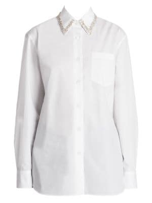 Embellished-Collar Long-Sleeve Button-Front Cotton Poplin Shirt in White