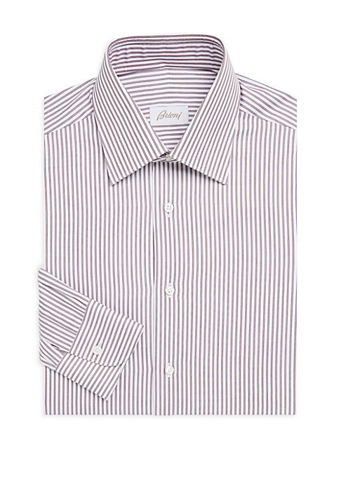 "Image of Soft cotton dress shirt with contrasting stripes. Spread collar. Long sleeves. Buttoned barrel cuffs. Button front. Classic-fit. About 30"" from shoulder to hem. Cotton. Machine wash. Made in Italy."