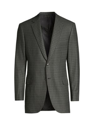 Brioni Jackets Classic-Fit Mini Check Wool Jacket