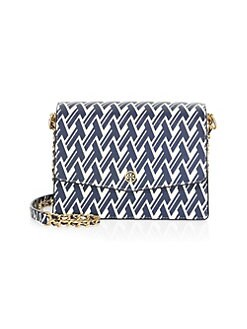 01cb0a71157 Robinson Printed Leather Shoulder Bag NAVY. QUICK VIEW. Product image.  QUICK VIEW. Tory Burch