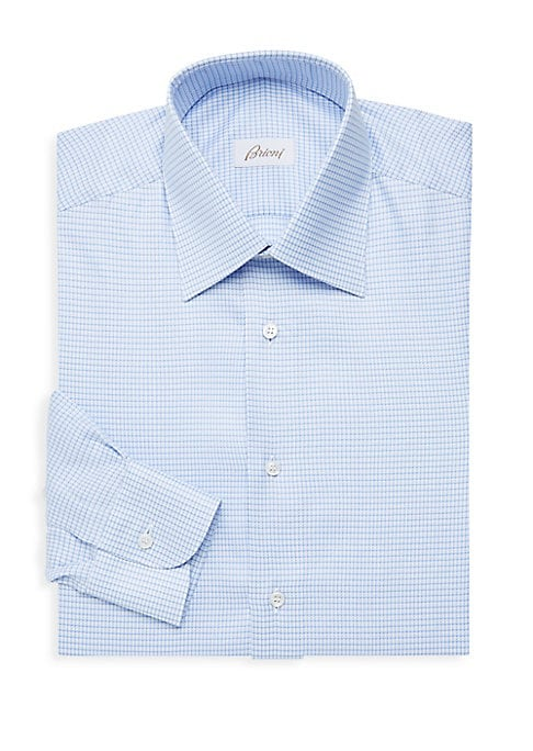 """Image of A smart checker button-up made from soft Italian cotton. Point collar. Long sleeves. Buttoned barrel cuffs. Button front. Cotton. Machine wash. Made in Italy. SIZE & FIT. Classic fit. About 29"""" from shoulder to hem."""
