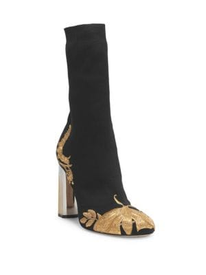 Gold Embroidery Stretch Bootie, Black Gold