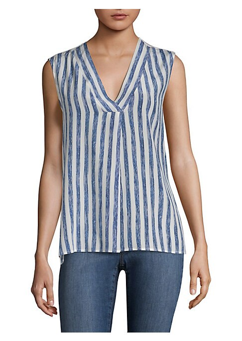 """Image of Casual silk blouse with striped design.V-neck. Sleeveless. About 25"""" from shoulder to hem. Silk. Hand wash. Imported. Model shown is 5'10"""" (177cm) and wearing US size Small."""