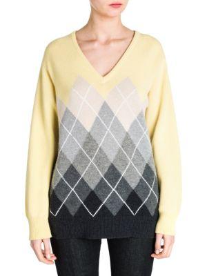 Cashmere V-Neck Argyle Sweater in Vanille