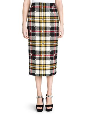Virgin Wool Ricamo Plaid Midi Skirt, Multi