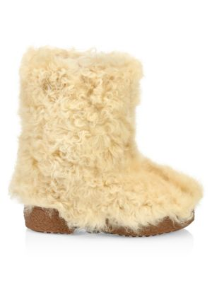 Booly Lambswool Ankle Boots, Beige