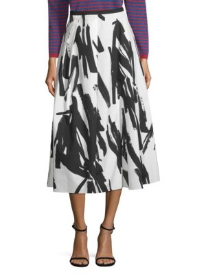 Tenuta Brushstroke-Print Poplin Midi Skirt in White