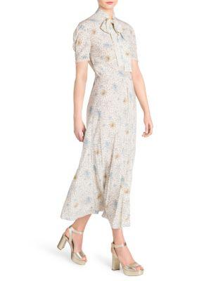 Bow Tie Print A-Line Maxi Dress, Ivory