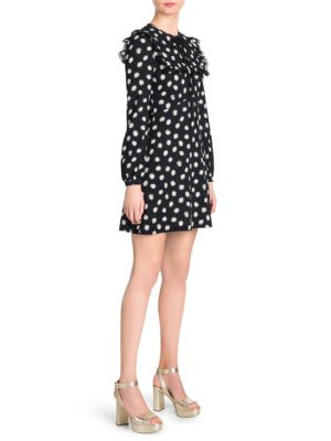 Sable Daisy Print A-Line Mini Dress, Black