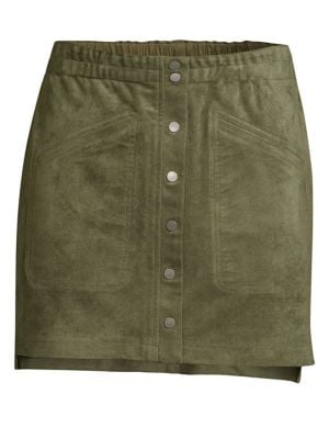 BCBG MAX AZRIA Snap-Button Faux-Suede Mini Skirt in Olive