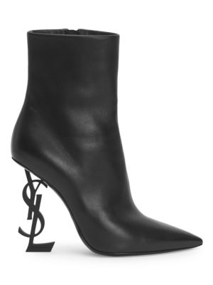 Opyum Leather Booties With Monogram Ysl Heel, Black