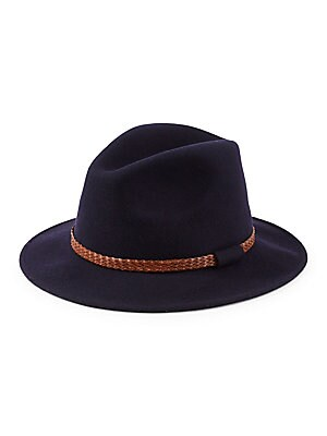 239fdba5a40ce Saks Fifth Avenue - COLLECTION Braided Leather Band Wool Felt Fedora