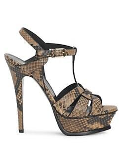 cb499f203321f Product image. QUICK VIEW. Saint Laurent. Tribute 105 Snakeskin Embossed  Leather Platform Sandals