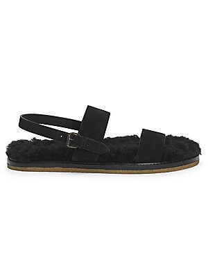 c7db558c528 Saint Laurent - Noe Nu Peids Shearling-Lined Leather Sandals