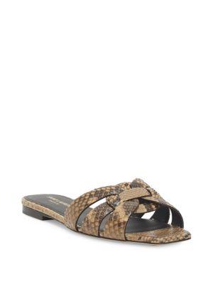 Tribute Flat Python Snake Slide Sandal, Caramel