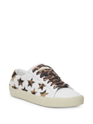 Court Classic Leopard-Print Calf Hair And Leather Sneakers, White