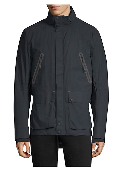 """Image of Zip-front coat in multi-pocket design. Stand collar. Long sleeves. Front flap-snap button patch pockets. Concealed zip-front with snap closure. About 31"""" from shoulder to hem. Polyamide/elastane. Machine wash. Imported. ."""