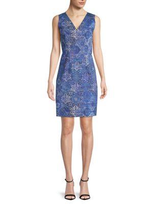 Elie Tahari Emory Graphic-print Sleeveless Dress In Bora Bora