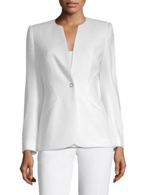 ELIE TAHARI Allegra One-Snap Crepe Jacket in Optic White