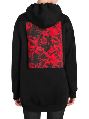Embroidered Cotton-Blend Jersey Hoodie, Black