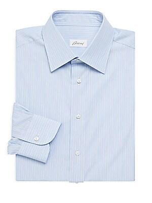"Image of A crisp, cotton button-up patterned in subtle pinstripes. Point collar Long sleeves Button cuffs Button front Cotton Machine wash Made in Italy SIZE Classic fit About 29"" from shoulder to hem. Men Luxury Coll - Brioni Clothing > Saks Fifth Avenue. Brioni."