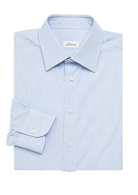 """Image of A crisp, cotton button-up patterned in subtle pinstripes. Point collar. Long sleeves. Button cuffs. Button front. Cotton. Machine wash. Made in Italy. SIZE. Classic fit. About 29"""" from shoulder to hem."""