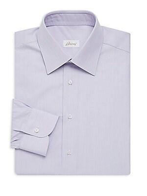 "Image of A crisp, pure cotton shirt patterned in subtle stripes. Point collar Long sleeves Buttoned barrel cuffs Button front Cotton Machine wash Made in Italy SIZE & FIT Classic fit About 29"" from shoulder to hem. Men Luxury Coll - Brioni Clothing > Saks Fifth Av"