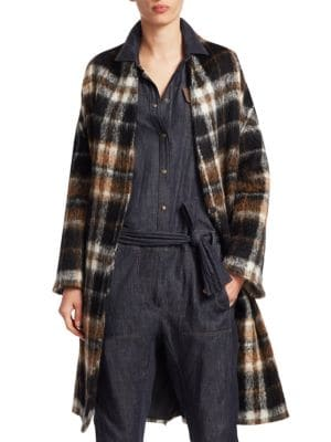 Embellished Tartan Alpaca And Wool-Blend Coat, Onyx Fango